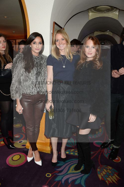 Left to right, ROXIE NAFOUSI, KATE REARDON and ROSIE FORTESCUE from reality TV's Made in Chelsea at Tatler Magazine's Little Black Book Party held at Annabel's, Berkeley Square, London on 5th November 2013.