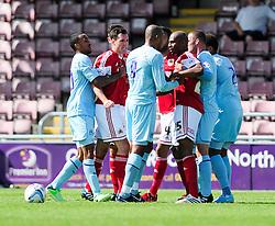 The two teams argue after a foul - Photo mandatory by-line: Dougie Allward/JMP - Tel: Mobile: 07966 386802 11/08/2013 - SPORT - FOOTBALL - Sixfields Stadium - Sixfields Stadium -  Coventry V Bristol City - Sky Bet League One