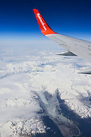 Air North 737-500 winglet over British Columbia icefield