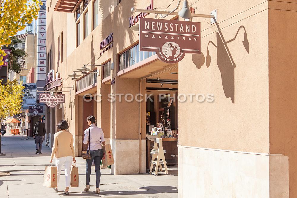 People Walking with Shopping Bags on Colorado Boulevard Pasadena