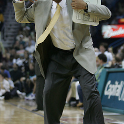 Doc Rivers head coach of the Boston Celtics calls a twenty-second timeout near the end of the first half against the New Orleans Hornets on March 22, 2008 at the New Orleans Arena in New Orleans, Louisiana.