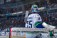 PENTICTON, CANADA - SEPTEMBER 8: Thatcher Demko #35 of Vancouver Canucks stands in net against the Winnipeg Jets on September 8, 2017 at the South Okanagan Event Centre in Penticton, British Columbia, Canada.  (Photo by Marissa Baecker/Shoot the Breeze)  *** Local Caption ***