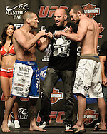 LAS VEGAS, NEVADA, JULY 10, 2009: Matt Grice (left) and Shannon Gugerty face off during the weigh-in for UFC 100 inside the Mandalay Bay Events Center in Las Vegas, Nevada
