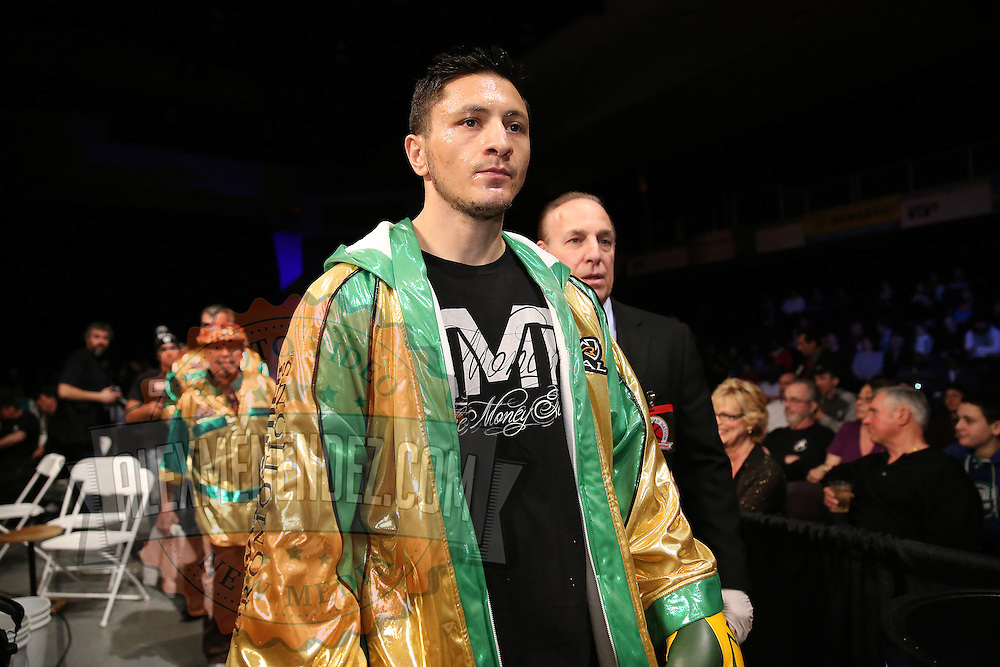 Ronald Gavril walks to the ring during Showtime Televisions ShoBox:The Next Generation boxing match at the Event Center at Turning Stone Resort Casino on Friday, February 28, 2014 in Verona, New York.  (AP Photo/Alex Menendez)