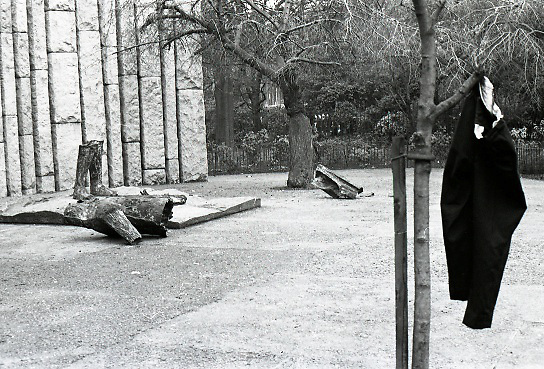 Destruction Of Wolfe Tone Statue..1971..08.02.1971..02.08.1971..8th February 1971..This morning the statue of Wolfe Tone on St Stephens Green was destroyed by explosion. The UDA (Ulster Defence Assoc) were alleged to have carried out the attack..The statue by sculptor Edward Delaney was unveiled by President Eamon DeValera on the 18 Nov 1967. Wolfe Tone ( 1763 -1798) was a leader of the 1798 Rebellion. Captured and sentenced to death by English Forces he died in prison from self inflicted wounds before the execution could be carried out..Picture shows the shattered statue on the ground in front of the famine monument. When the defence forces arrived at the scene a pair of trousers were found hanging from the tree in the foreground. There have been many theories as to how and why they were placed there.