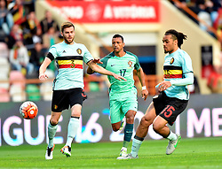 Portugal's Nani (M) vies with Belgium's Lombaerts (L) during a friendly soccer match betweem Portugal and Belgium in preparation for Euro 2016 in France at Leiria Municipal Stadium, Portugal, on March 29, 2016. Portugal won 2-1. EXPA Pictures © 2016, PhotoCredit: EXPA/ Photoshot/ Zhang Liyun<br /> <br /> *****ATTENTION - for AUT, SLO, CRO, SRB, BIH, MAZ, SUI only*****