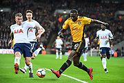 Newport County Forward Frank Nouble (10) and Tottenham Hotspur Defender Toby Alderweireld (4) battle for the ball during the The FA Cup 4th round replay match between Tottenham Hotspur and Newport County at Wembley Stadium, London, England on 7 February 2018. Picture by Stephen Wright.