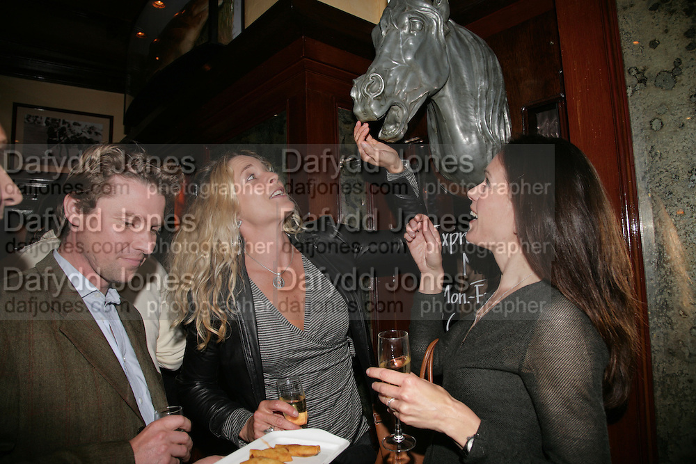Mathew Racher, Kira Franck and Francesca Cava, PJ's Annual Polo Party . Annual Pre-Polo party that celebrates the start of the 2007 Polo season.  PJ's Bar &amp; Grill, 52 Fulham Road, London, SW3. 14 May 2007. <br />