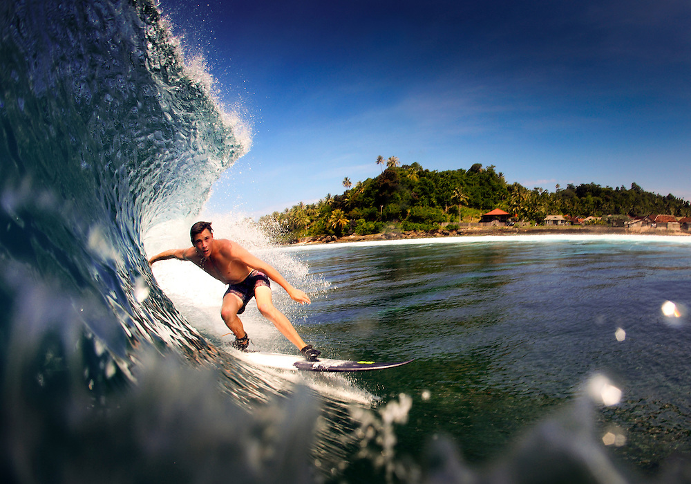 Surfing tropical waves on the Krui coastline, Sumatra, Indonesia