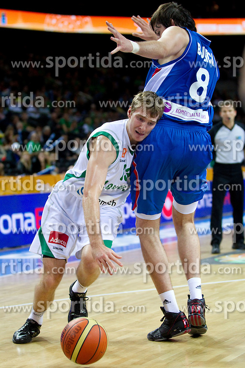 Zoran Dragic of Slovenia vs Nemanja Bjelica of Serbia during basketball game between National basketball teams of Slovenia and Serbia in 7th place game of FIBA Europe Eurobasket Lithuania 2011, on September 17, 2011, in Arena Zalgirio, Kaunas, Lithuania. Slovenia defeated Serbia 72 - 68 and placed 7th. (Photo by Vid Ponikvar / Sportida)