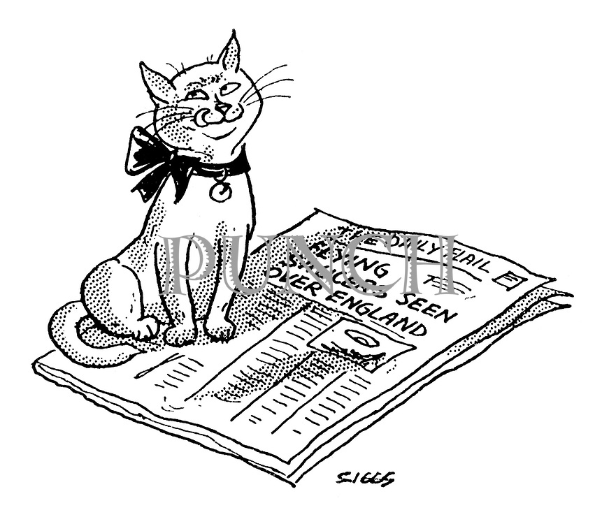 """(A cat licks its lips on reading the newspaper headline """"Flying saucers seen over England"""")"""