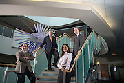 Russ College of Engineering Professors Gerri Botte, Robert Judd, Shad Sargand, and Frank van Graas in the atrium of the Advanced Research Cetner (ARC) Building.