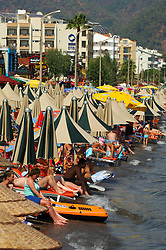 Crowded beach Marmaris Turkey