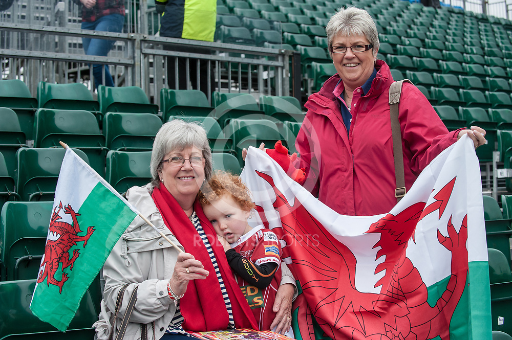 Welsh coach Gareth Williams' Mum and Son at the IRB Emirates Airline Glasgow 7s at Scotstoun in Glasgow. 3 May 2014. (c) Paul J Roberts / Sportpix.org.uk