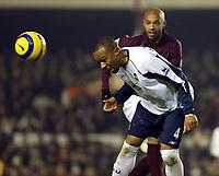 Photo: Chris Ratcliffe.<br />Arsenal v West Ham. Barclays Premiership. 01/02/2006.<br />West Ham's Danny Gabbidon (L) tussles with Thierry Henry.