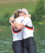 Lucerne SWITZERLAND,  Gold Medalist  Women's Double Scull GBR W2X. Bow Anna WATKINS and Katherine GRAINGER at the 2011 FISA World Cup on the Lake Rotsee. Sunday   10/07/2011   [Mandatory Credit Peter Spurrier/ Intersport Images]