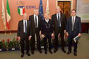 DESCRIZIONE : Roma Basket Day Hall of Fame 2014<br /> GIOCATORE : Toto Bulgheroni Mario Zanatta Alberto Mattioli Fabrizio Della Fiori Carlo Recalcati <br /> SQUADRA : FIP Federazione Italiana Pallacanestro <br /> EVENTO : Basket Day Hall of Fame 2014<br /> GARA : Roma Basket Day Hall of Fame 2014<br /> DATA : 22/03/2015<br /> CATEGORIA : Premiazione<br /> SPORT : Pallacanestro <br /> AUTORE : Agenzia Ciamillo-Castoria/GiulioCiamillo
