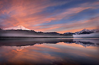 Sunrise over Mount Baker and Mount Shuksan from Baker Lake, North Cascades Washington