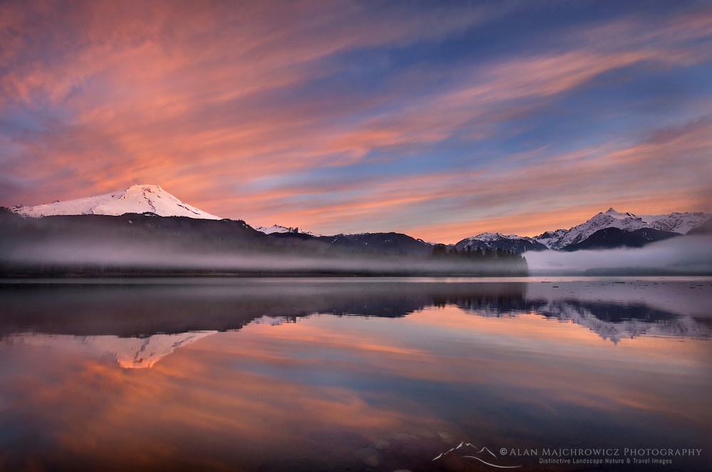 Sunrise over Mount Baker and Mount Shuksan from Baker Lake, North Cascades Washington