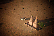 Aerial view of Buddhist temples  in a plowed field, Bagan, Myanmar, Asia