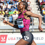 Abeba Aregawi, Sweden, winning the Women's 1500m during the Diamond League Adidas Grand Prix at Icahn Stadium, Randall's Island, Manhattan, New York, USA. 14th June 2014. Photo Tim Clayton