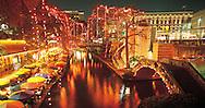"Texas, San Antonio, ""River Walk"" on the San Antonio River during Christmas,"
