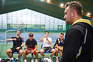 (R) Bartlomiej Dabrowski trainer assistant and former tennis player during training session while Polish Tennis Association Davis Cup Team Training Camp at Deski Tennis Club in Warsaw, Poland.<br /> <br /> Poland, Warsaw, December 18, 2014<br /> <br /> Picture also available in RAW (NEF) or TIFF format on special request.<br /> <br /> For editorial use only. Any commercial or promotional use requires permission.<br /> <br /> Mandatory credit:<br /> Photo by © Adam Nurkiewicz / Mediasport