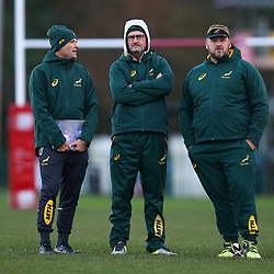 CARDIFF, WALES - NOVEMBER 19: Jacques Nienaber (Defence Coach) of South Africa with Swys de Bruin (consultant) and Emirates Lions head coach and Matt Proudfoot (Forward Coach) of South Africa during the South African national rugby team training session at WSC Treforest Grounds on November 19, 2018 in Cardiff, Wales. (Photo by Steve Haag/Gallo Images)