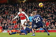 GOAL 3-1 Arsenal midfielder Aaron Ramsey (8) scores Arsenal's third during the Premier League match between Arsenal and Fulham at the Emirates Stadium, London, England on 1 January 2019.