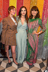 Camilla Rutherford, Yasmin Mills and Jasmine Hemsley at a cocktail supper hosted by BOTTLETOP co-founders Cameron Saul & Oliver Wayman, along with Arizona Muse, Richard Curtis & Livia Firth to launch the #TOGETHERBAND campaign at The Quadrant Arcade on April 24, 2019 in London, England.<br /> <br /> ***For fees please contact us prior to publication***