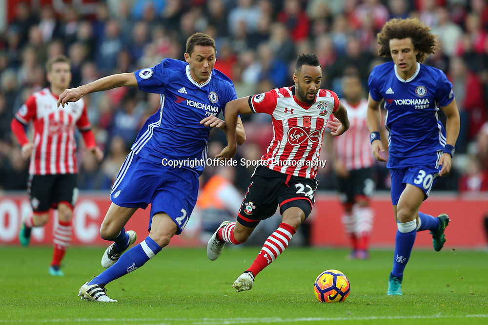 30 October 2016 - Premier League - Southampton v Chelsea - Nathan Redmond of Southampton in action with Nemanja Matic and David Luiz of Chelsea - Photo: Marc Atkins / Offside.