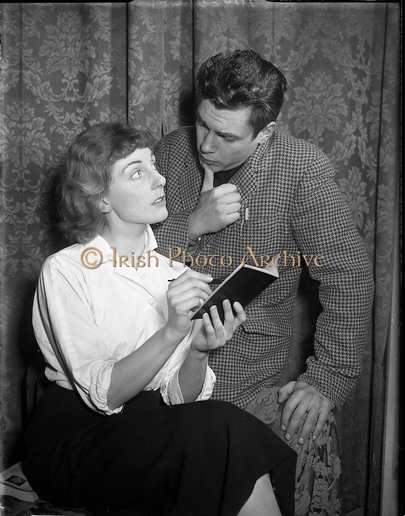 20/01/1956<br /> 01/20/1956<br /> 20 January 1956<br /> Robert Gallico, actor, at the Gas Co. Theatre, Dun Laoghaire with Miss Joyce O'Connor, actress.