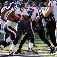 15 January 2012:  Houston Texans running back Arian Foster (23) in action against the Baltimore Ravens in the Divisional Playoff at M&T Bank Stadium in Baltimore, MD. The Ravens defeated the Texans 20-13 to advance to the AFC Championship game..