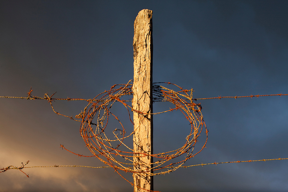 Costa Rica, Miravalles, Wood fencepost and barbed wire at sunset