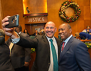 Luis Landa takes a selfie with Houston Mayor Sylvester Turner after students from Austin High School and Worthing High School were recognized for participation in the Pathfinder and PACE programs during a meeting of the city council, December 6, 2016.
