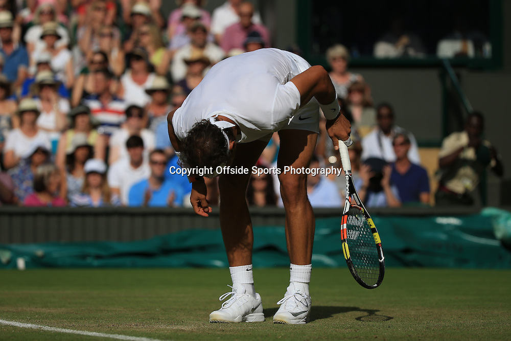 2 July 2015 - Wimbledon Tennis (Day 4) -  Rafael Nadel (ESP) reacts during his defeat to Dustin Brown (GER) - Photo: Marc Atkins / Offside.