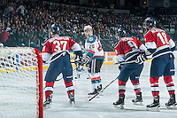 KELOWNA, CANADA - MARCH 27: Gage Quinney #20 of Kelowna Rockets lines up against the Tri-City Americans on March 27, 2015 at Prospera Place in Kelowna, British Columbia, Canada.  (Photo by Marissa Baecker/Shoot the Breeze)  *** Local Caption *** Gage Quinney;