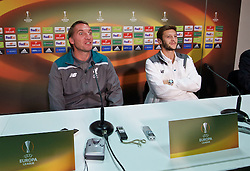 BORDEAUX, FRANCE - Wednesday, September 16, 2015: Liverpool's manager Brendan Rodgers and Adam Lallana during a press conference ahead of the UEFA Europa League Group Stage Group B match against FC Girondins de Bordeaux at the Nouveau Stade de Bordeaux. (Pic by David Rawcliffe/Propaganda)