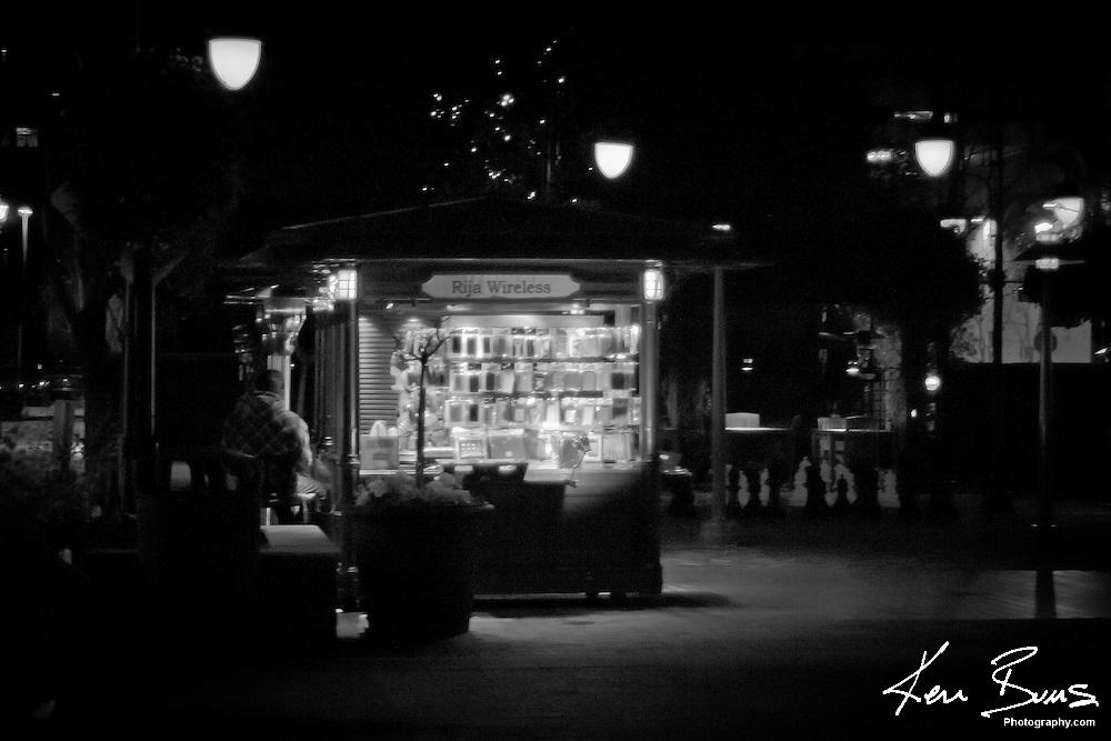 A vendor van on the beautiful streets of Santana Row in San Jose California.