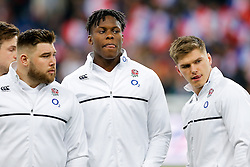 England Lock Maro Itoje and Inside Centre Owen Farrell both lick their lips ahead of kickoff - Mandatory byline: Rogan Thomson/JMP - 19/03/2016 - RUGBY UNION - Stade de France - Paris, France - France v England - RBS 6 Nations 2016.