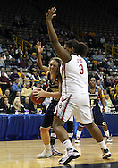 24 MARCH 2009: Georgia Tech forward Brigitte Ardossi (35) tries to get around Oklahoma center Courtney Paris (3) during an NCAA Women's Tournament basketball game Tuesday, March 24, 2009, at Carver-Hawkeye Arena in Iowa City, Iowa. Oklahoma defeated Georgia Tech 69-50.