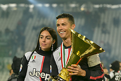 May 19, 2019 - Turin, Turin, Italy - Cristiano Ronaldo of Juventus FC lifts the trophy of Scudetto  2018-2019 at Allianz Stadium, Turin  (Credit Image: © Antonio Polia/Pacific Press via ZUMA Wire)
