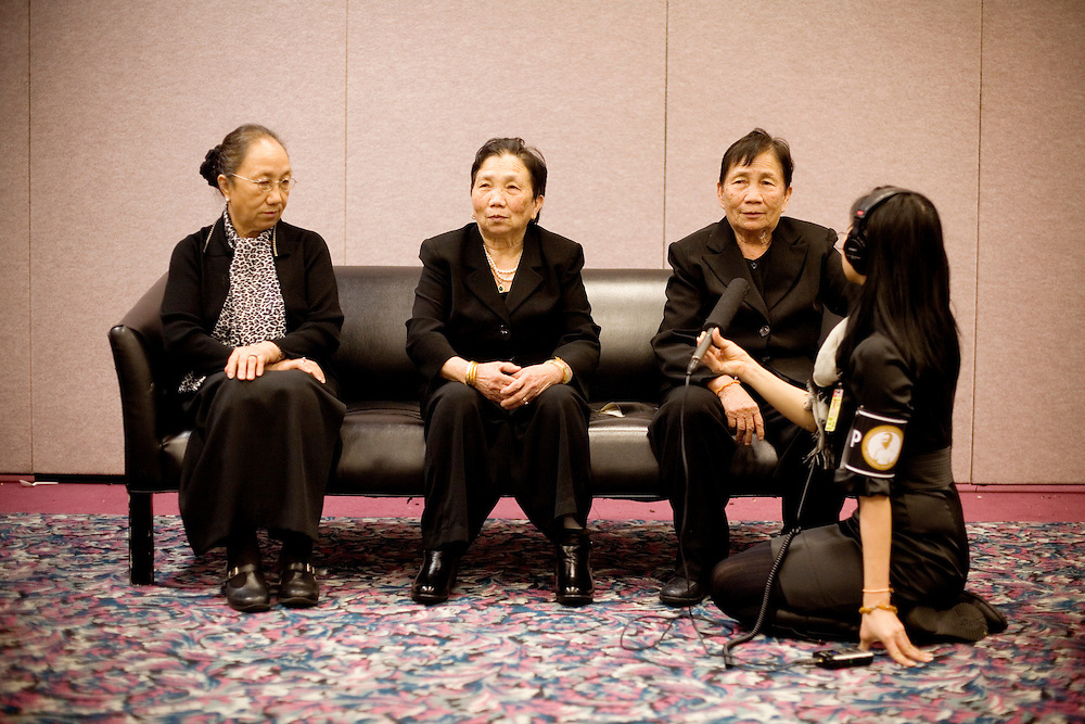 NPR reporter Doualy Xaykaothao interviews with her great-aunts, three sisters of General Yang Pao , in Fresno, Ca., on Sunday, Feb. 6, 2011. Vang Pao led Hmong guerrillas in a CIA-backed battle against communist forces in Laos and helped tens of thousands of Hmong resettle in American cities.