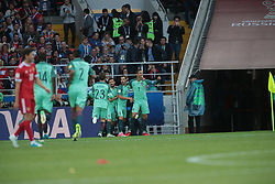 June 21, 2017 - Moscow, Russia - Cristiano Ronaldo of the Portugal national football team celebrates after scoring a goal during the 2017 FIFA Confederations Cup match, first stage - Group A between Russia and Portugal at Spartak Stadium on June 21, 2017 in Moscow, Russia. (Credit Image: © Igor Russak/NurPhoto via ZUMA Press)