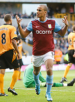 Photo: Steve Bond/Richard Lane Photography. Wolverhampton Wanderers v Aston Villa. Barclays Premiership 2009/10. 24/10/2009. Gabriel Agbonlahor after scoring