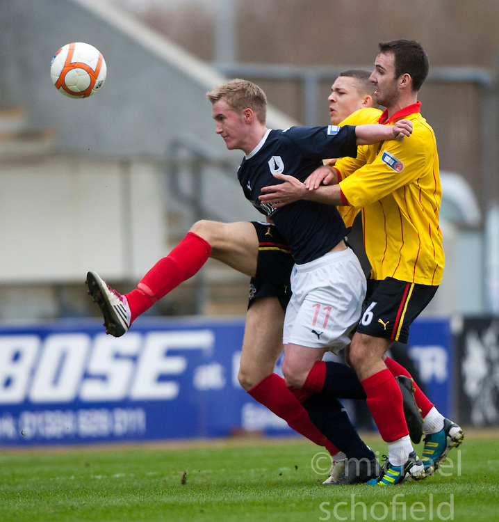 Falkirk's Craig Sibbald and Alan Archibald..half time, Falkirk v Partick Thistle, 10/3/2012..©Michael Schofield.
