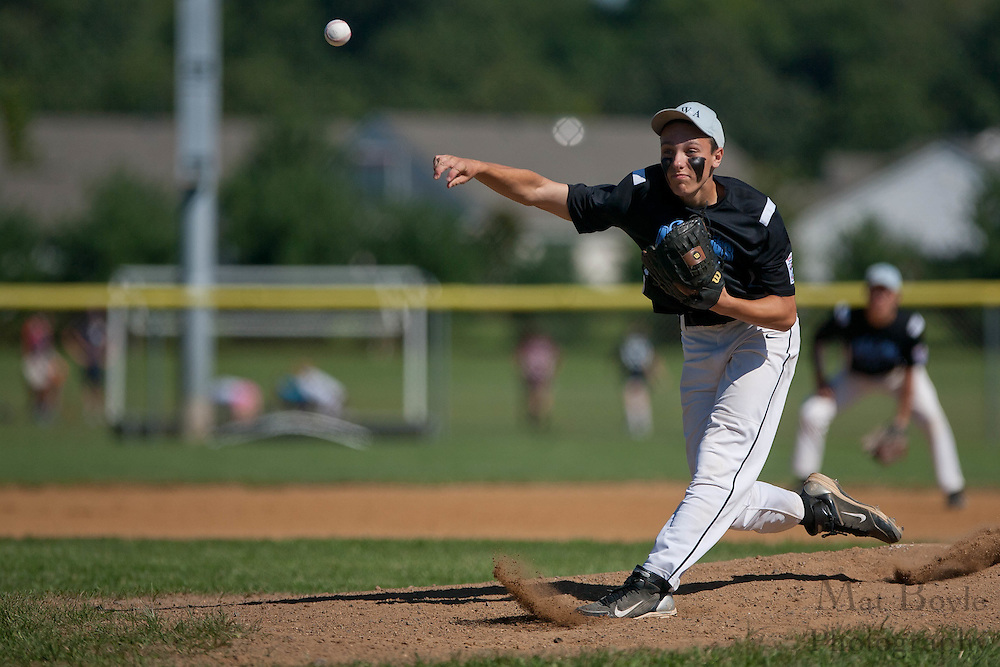 Pennsylvania's Eric Walkowiak pitches in the 1st inning during the finals of the Eastern Regional Senior League tournament between Pennsylvania and Maryland held in West Deptford on Thursday, August 11.