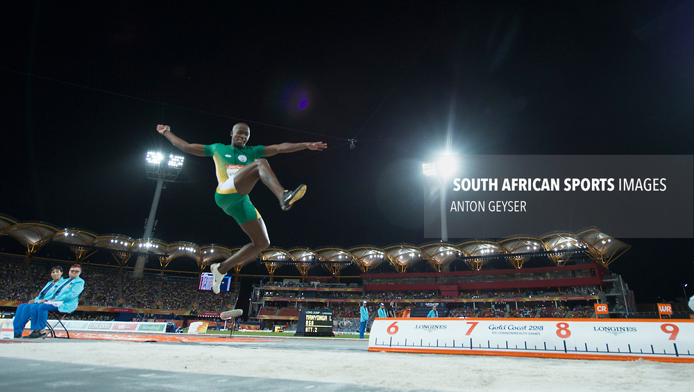 GOLD COAST, AUSTRALIA - APRIL 11: Luvo MANYONGA of South Africa in action during Men's Long Jump final on day 7 of the Gold Coast 2018 Commonwealth Games at the Gold Carrara Recreation Centre on April 11, 2018 in Gold Coast, Australia. (Photo by Anton Geyser)
