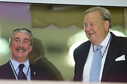 MONACO, FRANCE - Friday, August 24, 2001: Liverpool's chairman David Moores with UEFA president Lenart Johanssen at the Stade Louis II in Monaco. (Pic by David Rawcliffe/Propaganda)