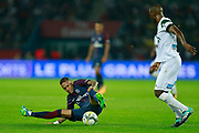 Paris Saint Germain's Brazilian forward Neymar Jr falls during the French championship L1 football match between Paris Saint-Germain (PSG) and Saint-Etienne (ASSE), on August 25, 2017 at the Parc des Princes in Paris, France - Photo Benjamin Cremel / ProSportsImages / DPPI